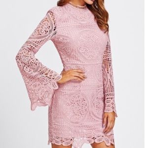 SHEIN Trumpet Sleeve Crotchet Overlay Dress Size S
